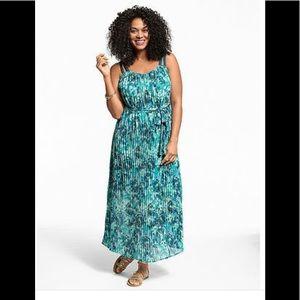 Lane Bryant green flowy pleated print dress 18 20